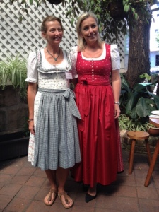 On the left is a modern take on the dirndl while the one on the right is a dressier version of the traditional dirndl