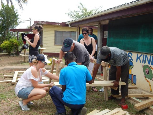 Assembling tables for outside lessons.
