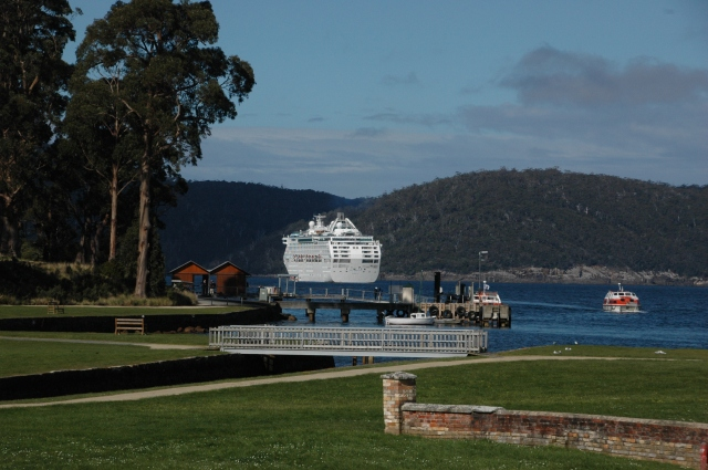 Sea Princess anchored off Port Arthur in Tasmania