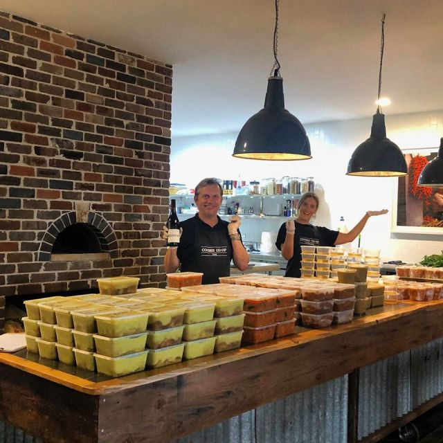 Packaging meals at the Cooks Co_op