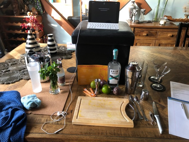 Setting up or the Zoom cocktail masterclass