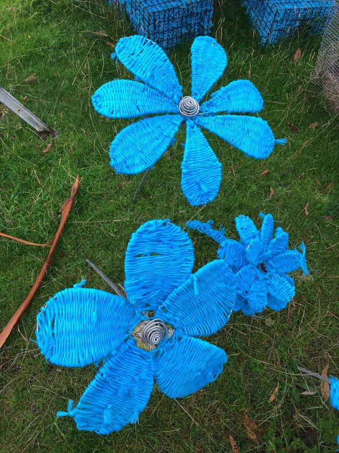 woven blue flowers