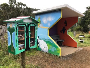 Painted street library and bus stop on Bruny Island